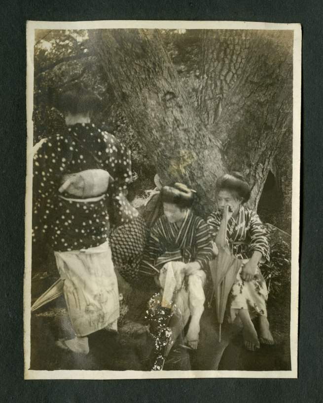 Anonymous. 'Untitled [Three women and an umbrella]' (restored) from a Japanese family photography album c. 1920-30s