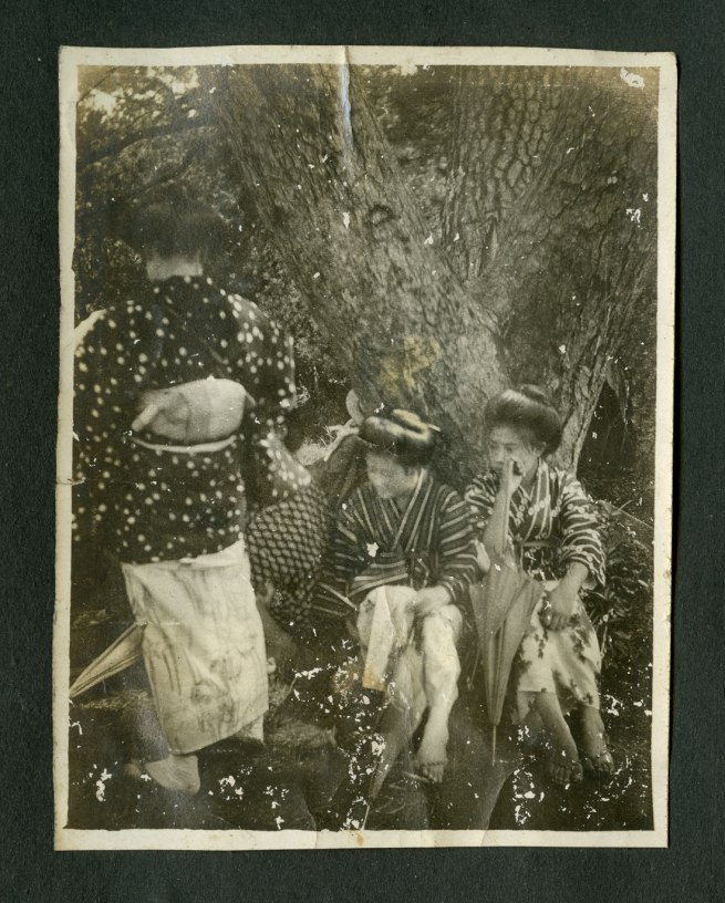 Anonymous. 'Untitled [Three women and an umbrella]' (umrestored) from a Japanese family photography album c. 1920-30s