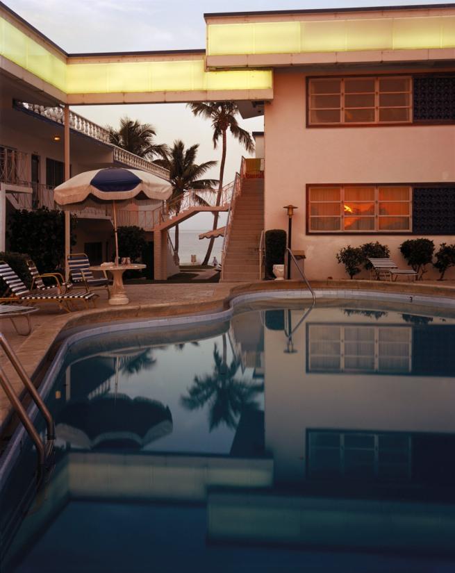 Joel Meyerowitz. 'Pool, Dusk, Sun in Window, Florida' 1978