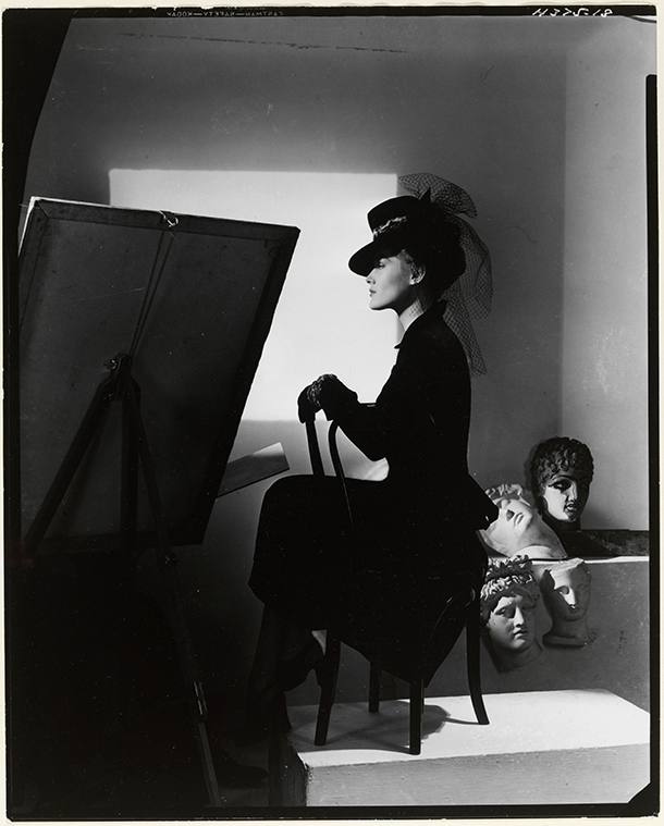 Horst P. Horst. 'Hat and coat-dress by Bergdorf Goodman, modelled by Estrella Boissevain' 1938