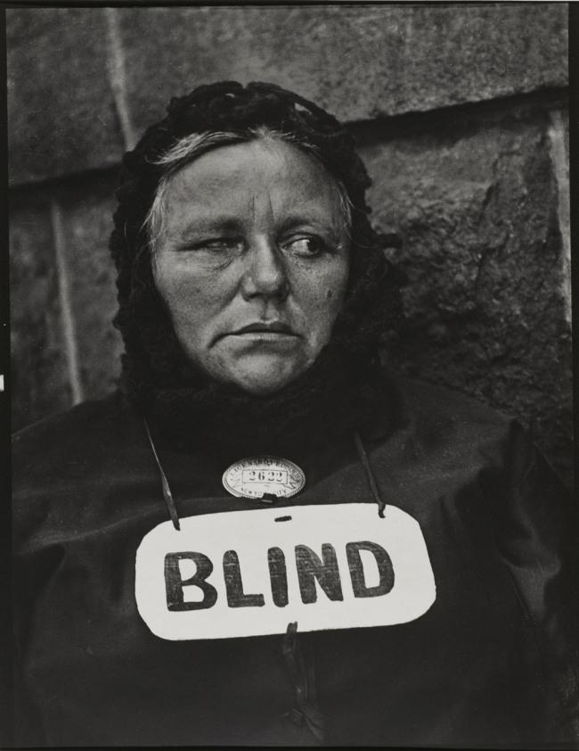Paul Strand. 'Blind Woman, New York' 1916 (negative); 1945 (print)