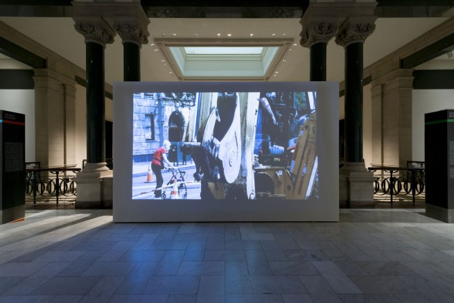 Installation view of James Nares's film 'Street'. Photo by Rob Deslongchamps.