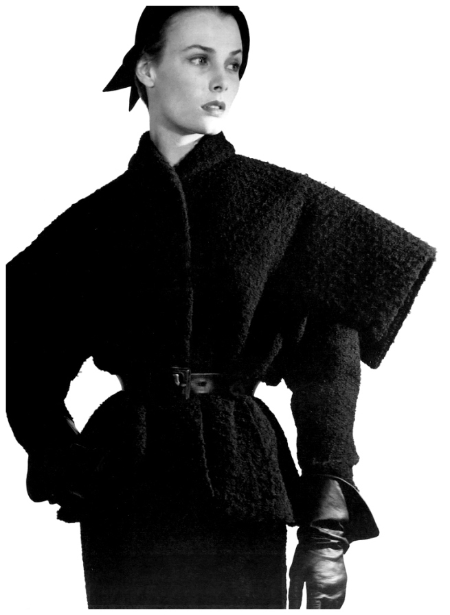 Horst P. Horst. 'Lillian Marcuson in Dior's belted two-piece suit in black rustic wool, called 'Milieu du Siècle'' 1949