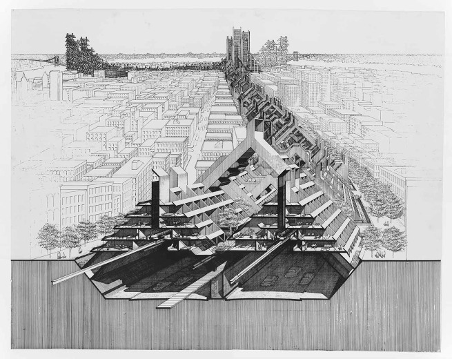 Paul Rudolph. 'Lower Manhattan Expressway, New York City, perspective section' c. 1970