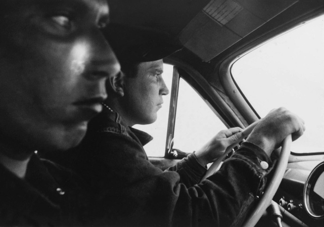 Robert Frank. 'U.S. 91, leaving Blackfoot, Idaho' 1956