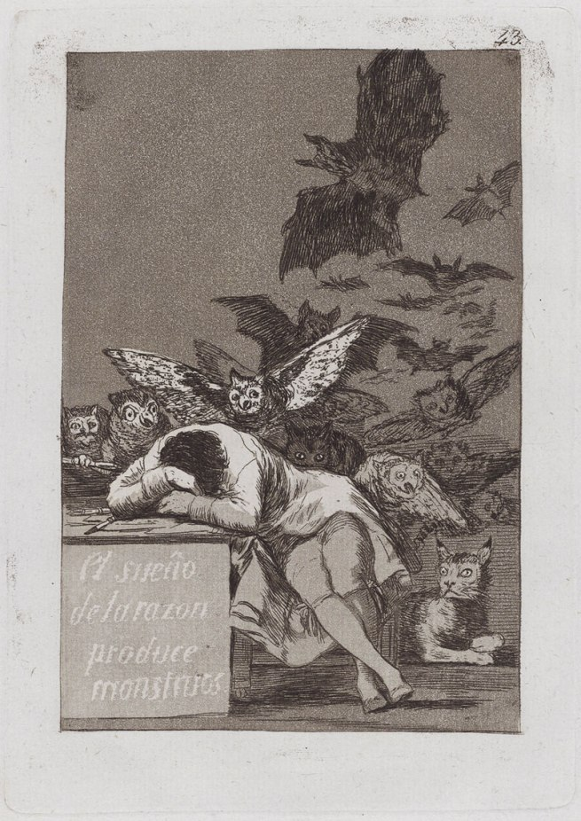 Francisco Goya (Spanish, 1746-1828) 'The Sleep of Reason Produces Monsters' (El sueño de la razon produce monstruos), Caprichos 43 1797-99