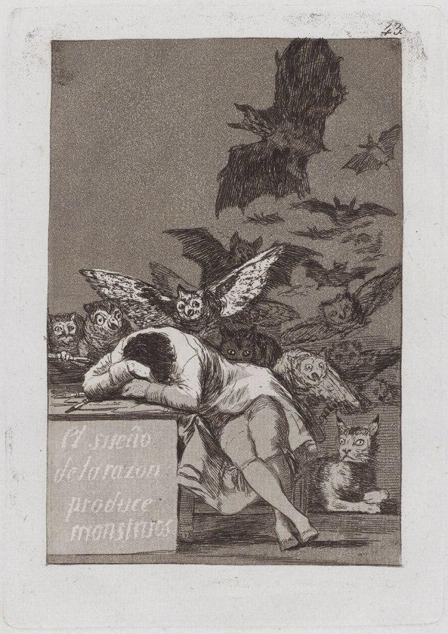 Francisco Goya (Spanish, 1746-1828) 'The Sleep of Reason Produces Monsters' (El sueño de la razon produce monstruos), Caprichos 43 1797-99