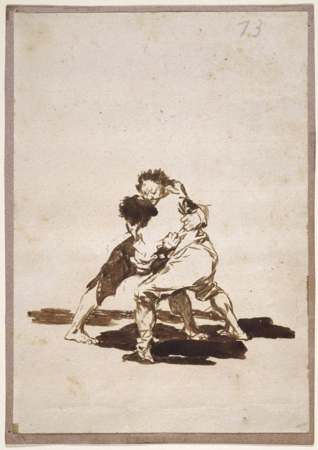 Francisco Goya (Spanish, 1746-1828) 'Two Men Fighting', Album F, 73 1812-20