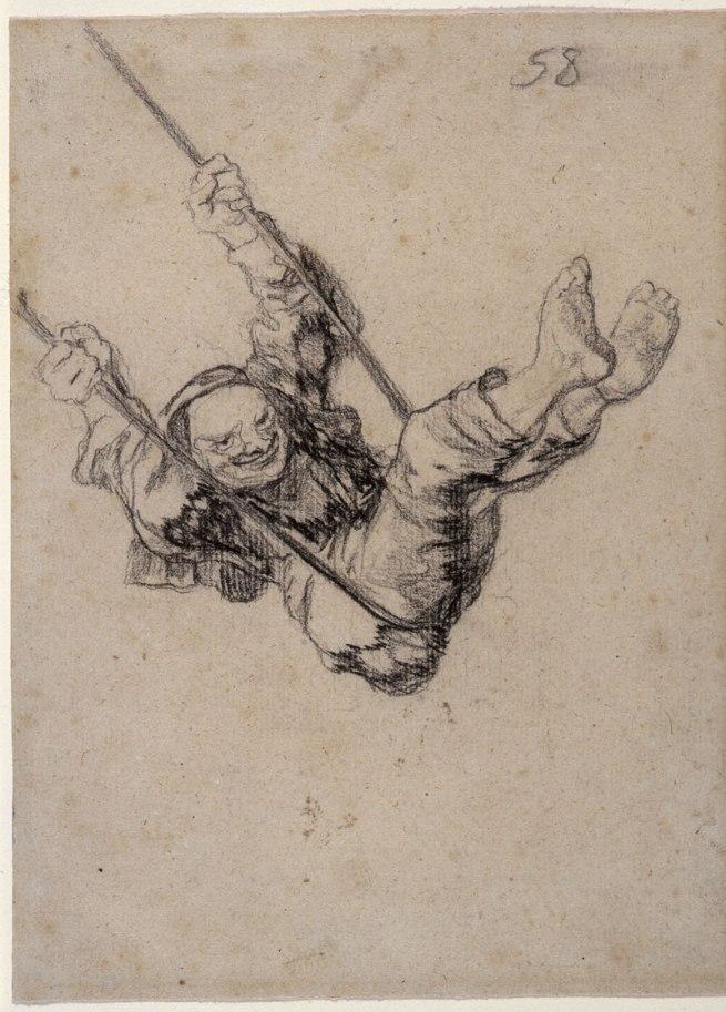 Francisco Goya (Spanish, 1746-1828) 'Old Man on a Swing', Bordeaux Album II, H, 58 1824-28