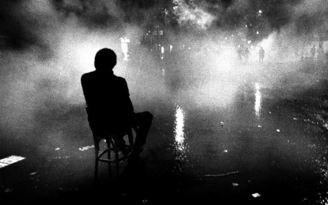 "Claude Dityvon. ""L'homme à la chaise"" [The man in the chair], Bd St. Michel, 21 May 1968"