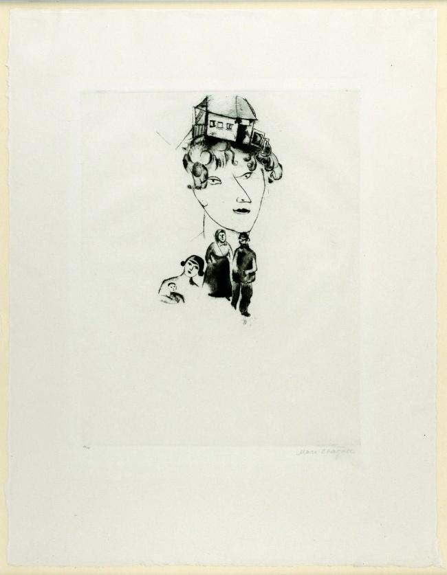 """Marc Chagall. 'Autoritratto (tavola 17 di """"Ma Vie"""")' 1922"""