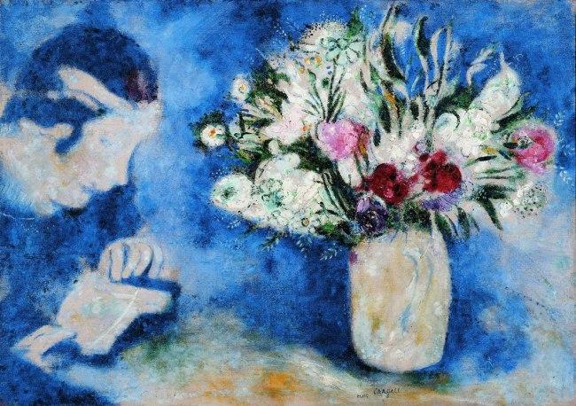 Marc Chagall. 'Bella con un libro e un vaso di fiori (o Bella a Mourillon)' 1926