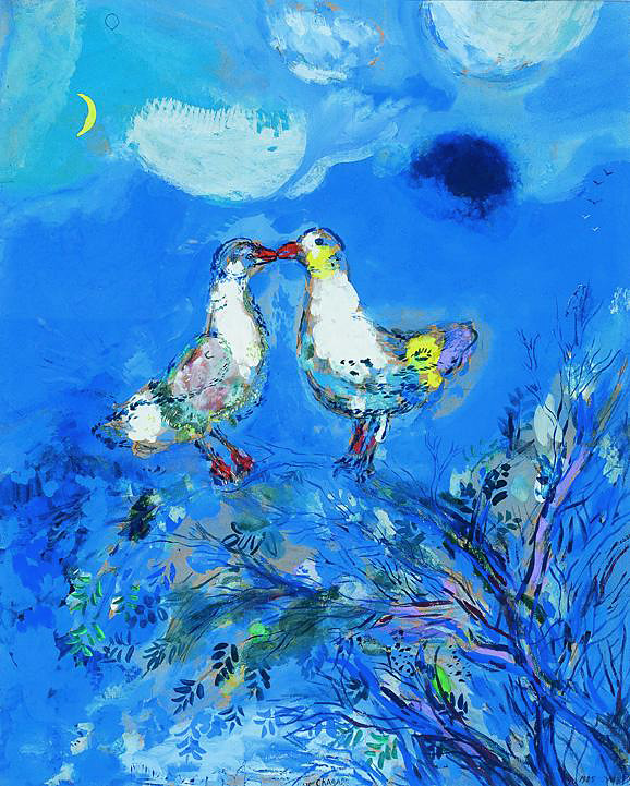 Marc Chagall. 'Two pigeons' 1925