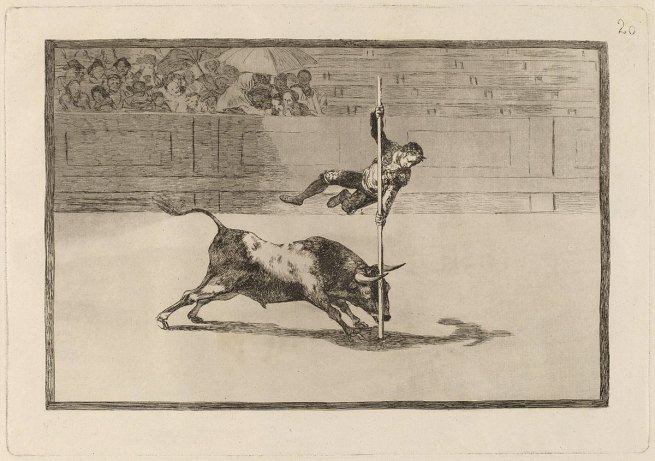 Francisco Goya (Spanish, 1746-1828) 'The Agility and Audacity of Juanito Apiñani in the Ring at Madrid' (Ligereza y atrevimiento de Juanito Apiñani en la de Madrid) (Tauromaquia 20) 1815-16