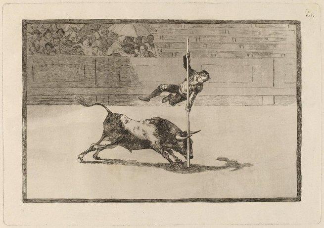 Francisco Goya (Spanish, 1746-1828) 'The Agility and Audacity of Juanito Apiñani in the Ring at Madrid' (Ligereza y atrevimiento de Juanito Apiñani en la de Madrid) (Tauromaquia 20) 1815-16