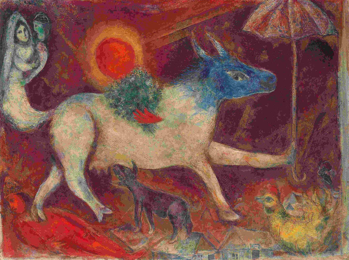 Шагал ((картины( La-mucca-con-ombrello-1946-olio-su-tela-web