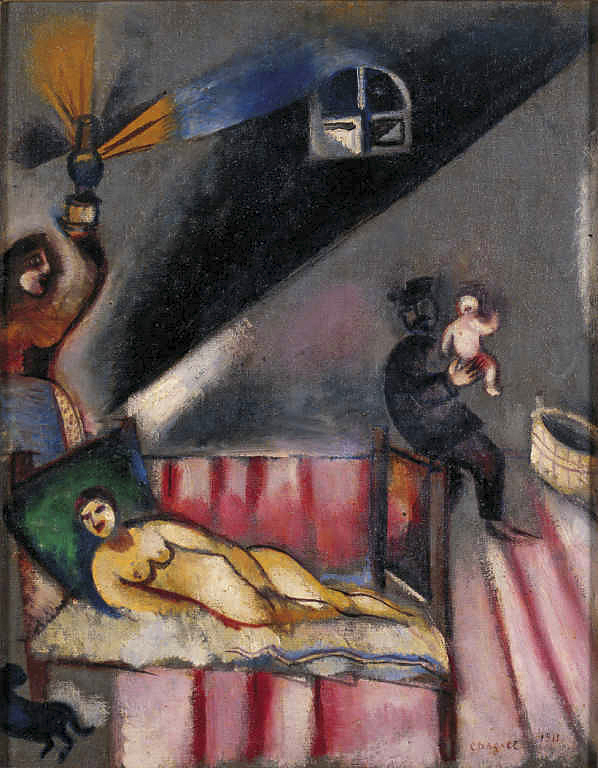 Шагал ((картины( La-nascita-1911-olio-su-tela-originale-incollata-su-legno-web