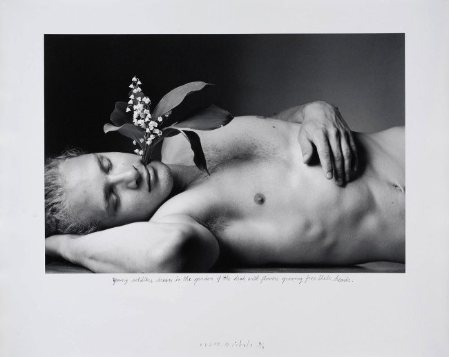 Duane Michals. 'Young Soldiers Dream in the Garden of the Dead with Flowers Growing from Their Heads' 1995