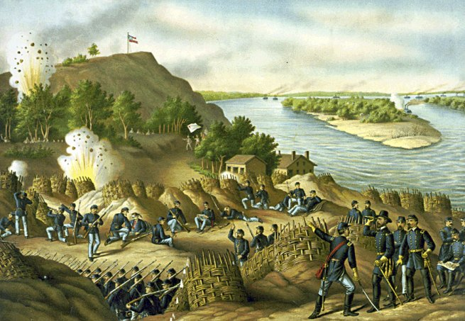 Kurz and Allison. 'Siege of Vicksburg - 13, 15, & 17 Corps, Commanded by Gen. U.S. Grant, assisted by the Navy under Admiral Porter - Surrender, July 4, 1863' 1888