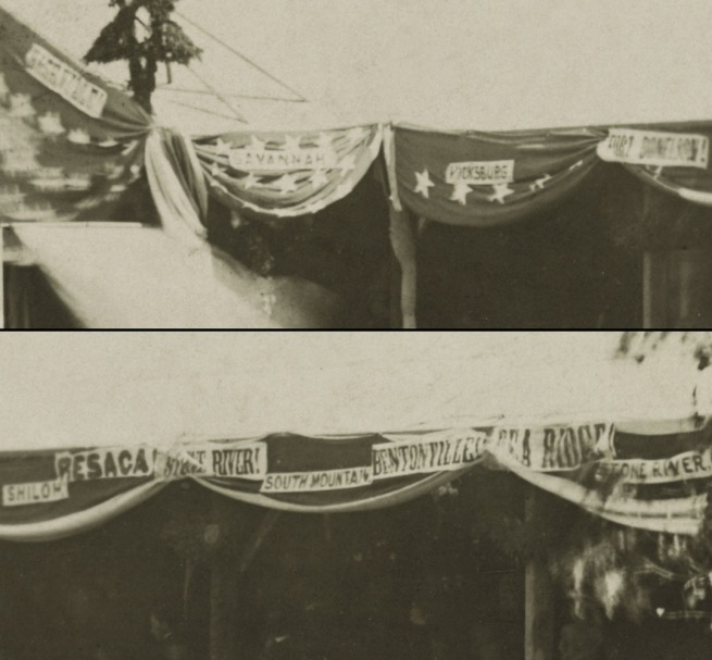 Mathew B. Brady. 'Reviewing Stand in Front of the Executive Mansion, Washington, D.C., May, 1865' 1865 (detail)