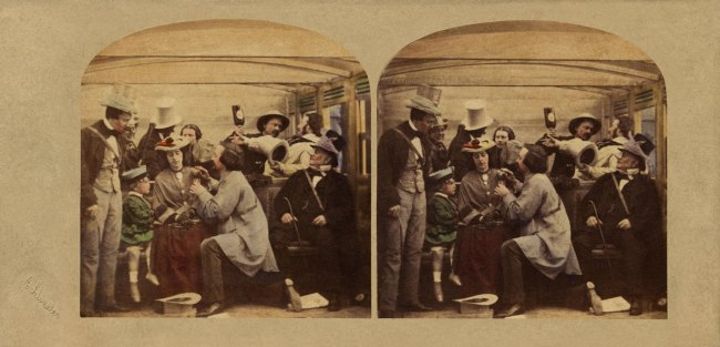 Alfred Silvester. 'The Road, the Rail, the Turf, the Settling Day (The Rail Second Class)' 1859