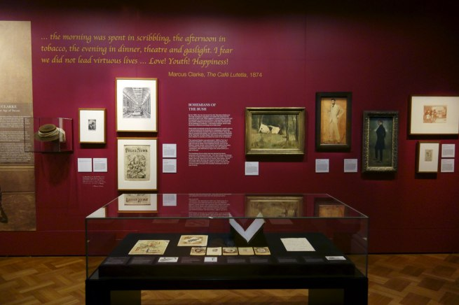 Installation view of the exhibition 'Bohemian Melbourne' at the State Library of Victoria, Melbourne