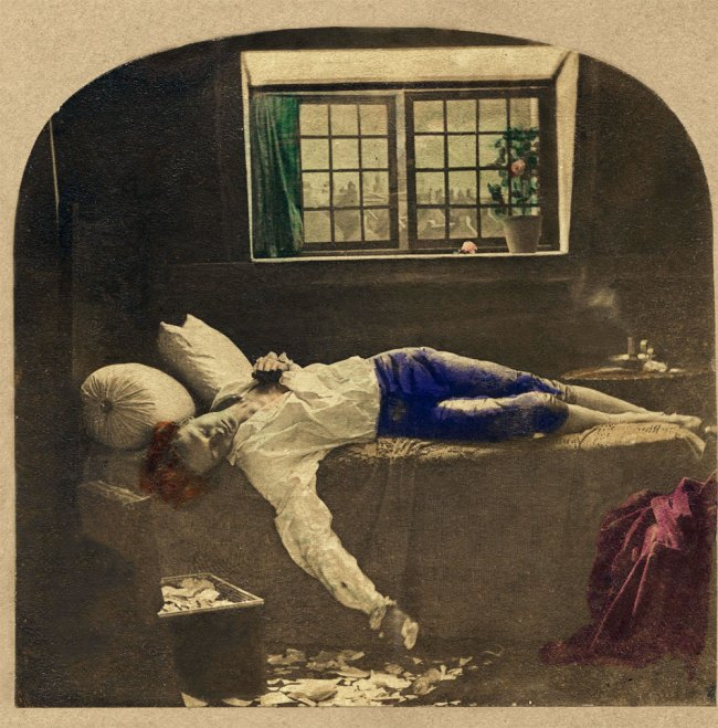 James Robinson(Ireland 1850s-1870s) 'The Death of Chatterton' 1859 (detail)