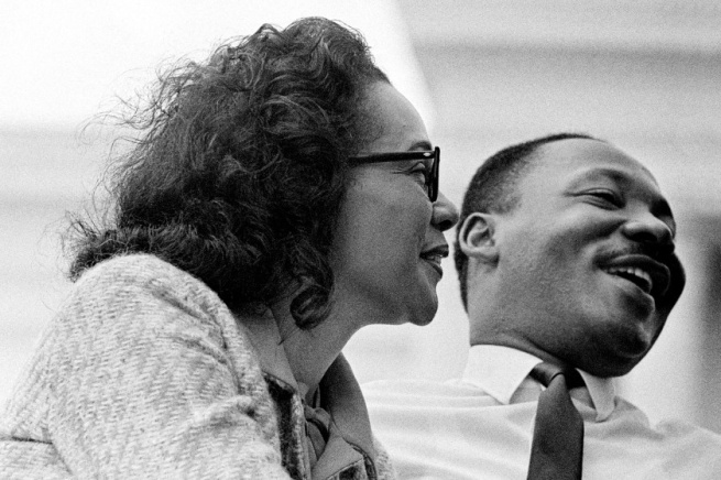 Stephen Somerstein. 'Coretta Scott King and husband civil rights leader Dr. Martin Luther King, Jr., on platform at end of 1965 Selma to Montgomery, Alabama Civil Rights March - March 25, 1965' 1965