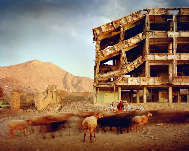 Simon Norfolk. 'Bullet-scarred apartment building' 2003