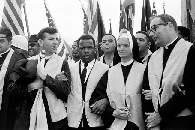 Stephen Somerstein. 'Nuns, priests, and civil rights leaders at the head of the march' 1965