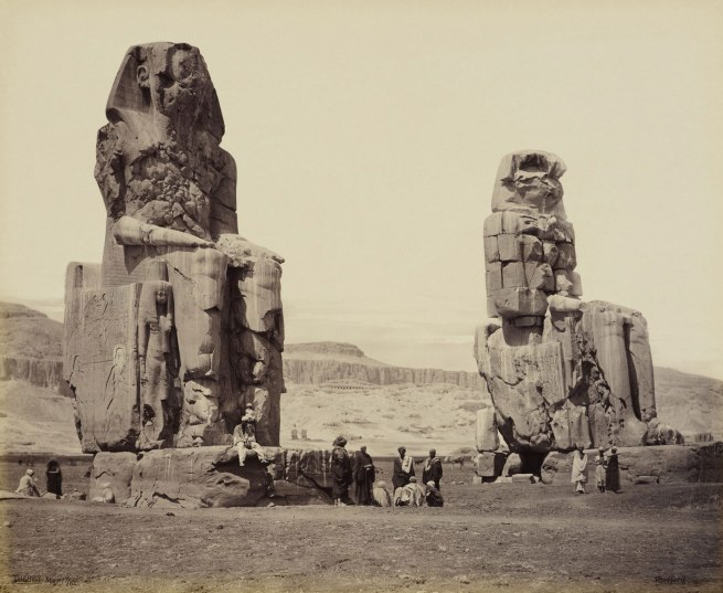Francis Bedford (1815-94) (photographer) 'The Colossi on the plain of Thebes [Colossi of Memnon]' 17 Mar 1862