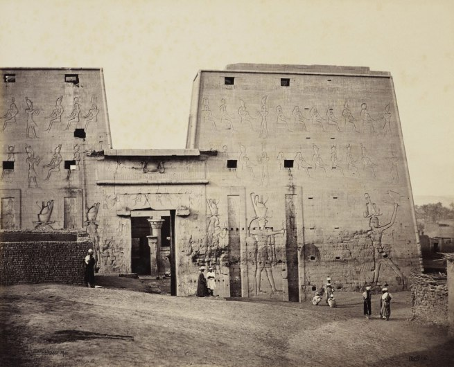 Francis Bedford (1815-94) (photographer) 'The Great Propylon of the Temple at Edfou [Pylon of the Temple of Horus, Edfu]' 14 Mar 1862