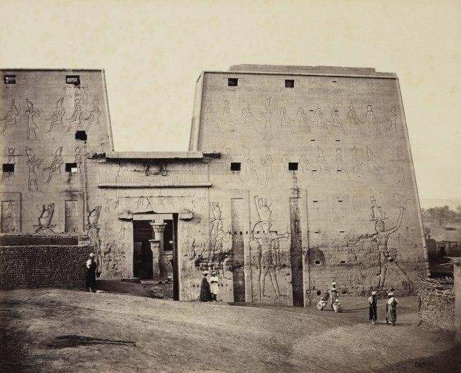 Francis Bedford (1815-94) (photographer) 'The Great Propylon of the Temple at Edfou [Pylon of the Temple of Horus, Edfu]' 14 Mar 1862