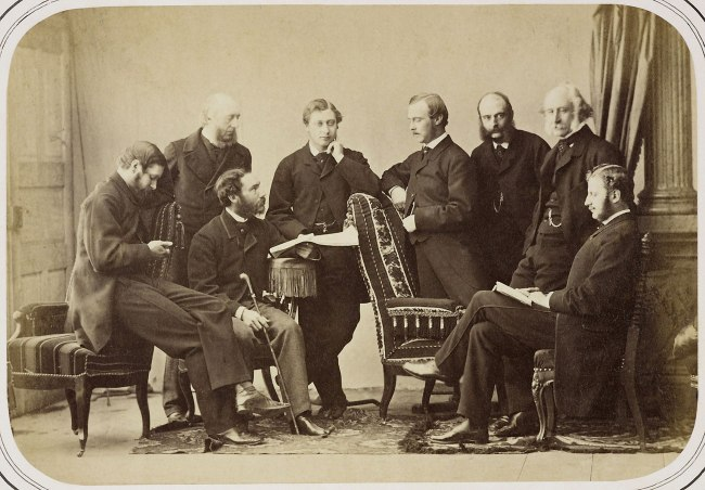 Joseph Albert (1825-86) (photographer) '[The Prince of Wales with Prince Louis of Hesse, and companions, in Munich, February 1862]' 1862