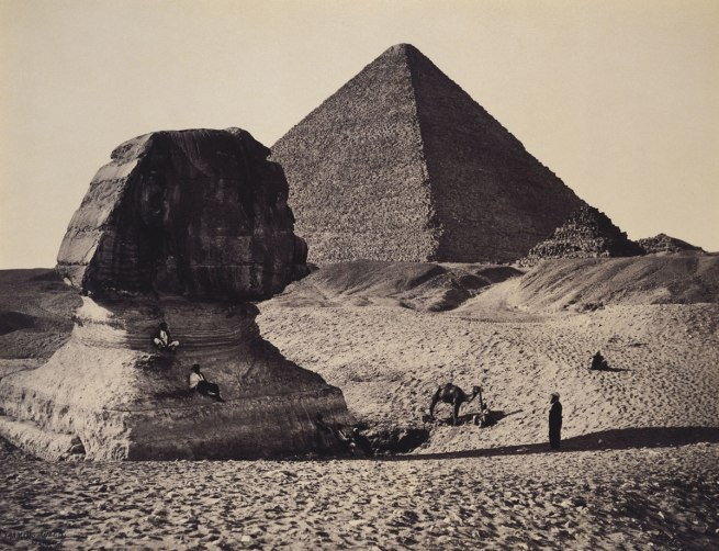Francis Bedford (1815-94) (photographer) 'The Sphinx, the Great Pyramid and two lesser Pyramids, Ghizeh, Egypt' 4 March 1862