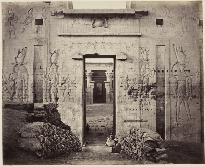 Francis Bedford (1815-94) (photographer) 'View through the Great Gateway into the Grand Court of the Temple of Edfou [Temple of Horus, Edfu]' 14 Mar 1862