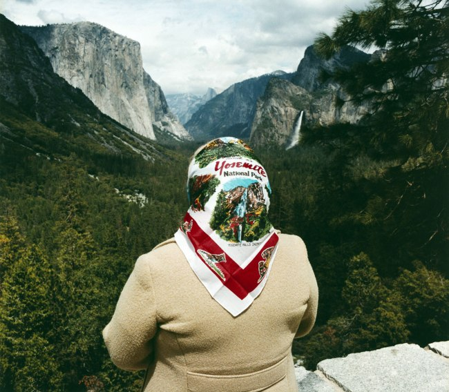 Roger Minick (American, born 1944) 'Woman with Scarf at Inspiration Point, Yosemite National Park' 1980