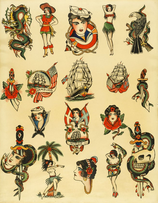 Christian Warlich. 'Tattoo flash sheet by Christian Warlich, Hamburg' c. 1930