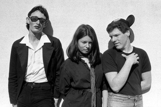 Peter Milne. 'Rowland S. Howard, Gina Riley, Simon McLean. TATROC gig, Greville Street, 1976' 1976
