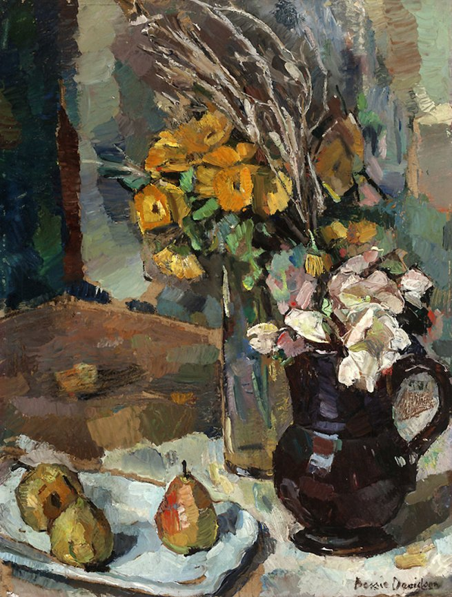 Bessie Davidson. 'Still Life with Flowers and Pears' Nd