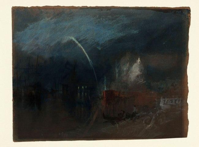 Joseph Mallord William Turner (British, 1775-1851) 'Venice: Santa Maria della Salute, Night Scene with Rockets' about 1840