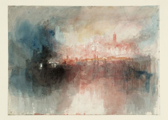 Joseph Mallord William Turner (British, 1775-1851) 'Fire at the Grand Storehouse of the Tower of London' 1841
