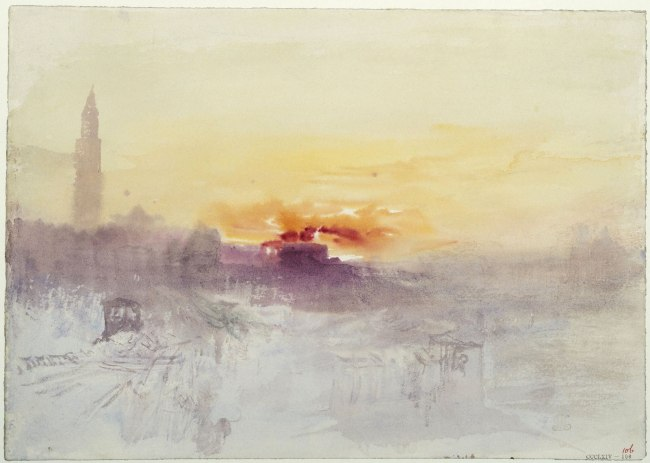 Joseph Mallord William Turner (British, 1775-1851) 'Venice at Sunrise from the Hotel Europa, with Campanile of San Marco' About 1840