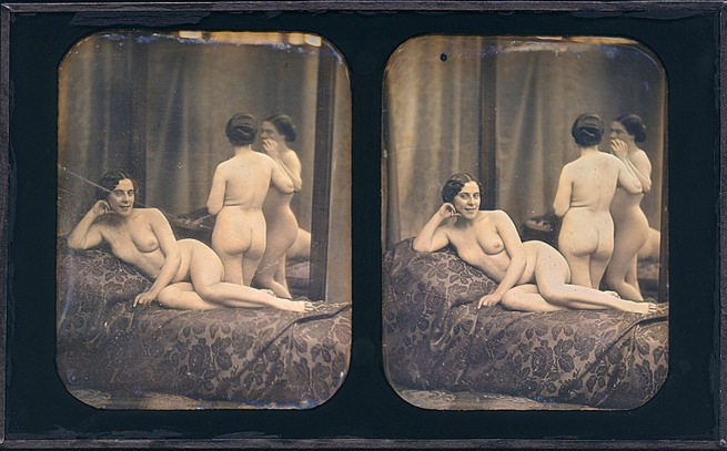 Unknown photographer, France 'Two nude women in a room with a mirror' c. 1850-1855