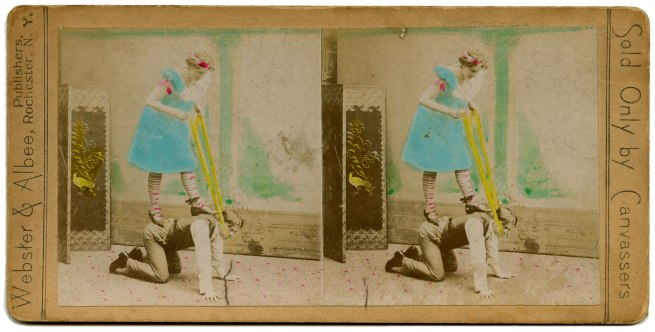 Webster & Albee, Publishers, United States 'Woman standing on the back of a kneeling man' late 19th century