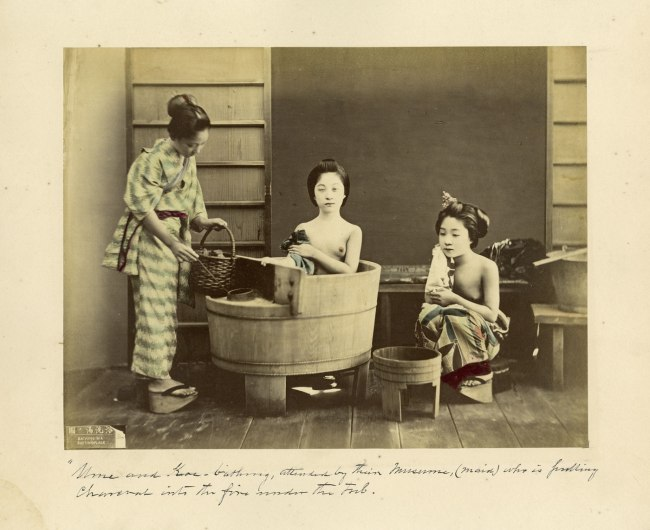 Unknown photographer. 'Bathing in a Baetingplace' Japan, 1880-1890