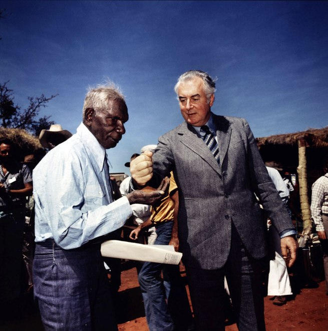 Mervyn Bishop. 'Prime Minister Gough Whitlam pours soil into the hands of traditional land owner Vincent Lingiari, Northern Territory' 1975