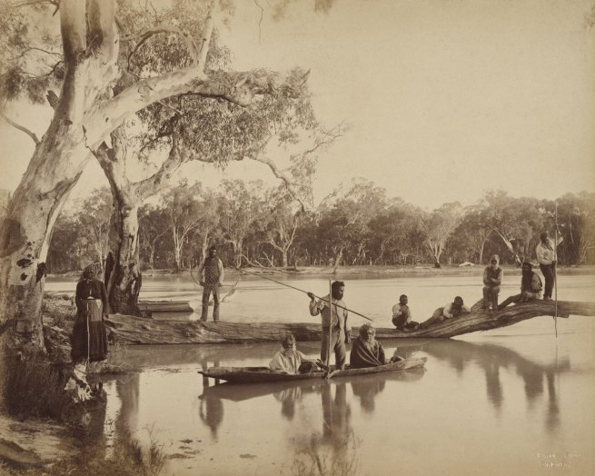 Charles Bayliss. 'Group of local Aboriginal people, Chowilla Station, Lower Murray River, South Australia' 1886