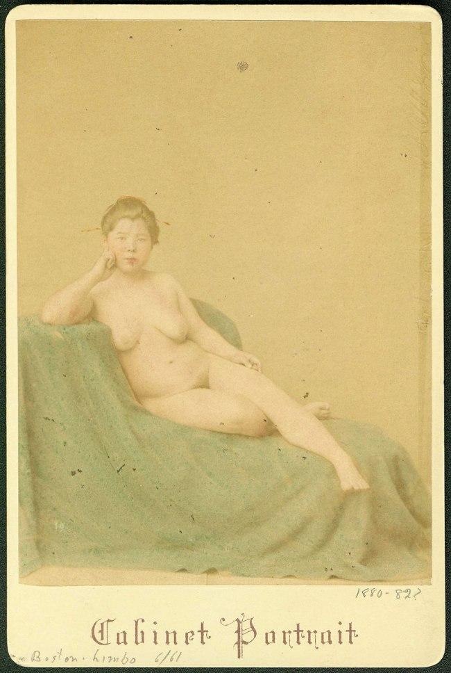 Stillfried & Andersen (Baron Raimund von Stillfried-Ratenicz (1839-1911), Austria, and Hermann Andersen. 'Reclining female nude' Yokohama, Japan, 1880-1882?