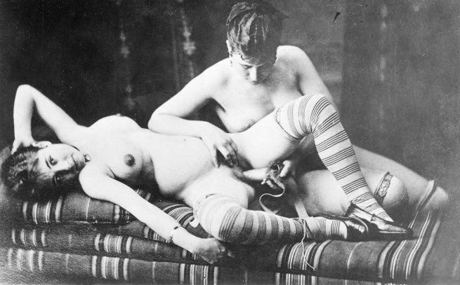Unknown photographer. 'Woman penetrating a woman with a dildo' 1880-1885